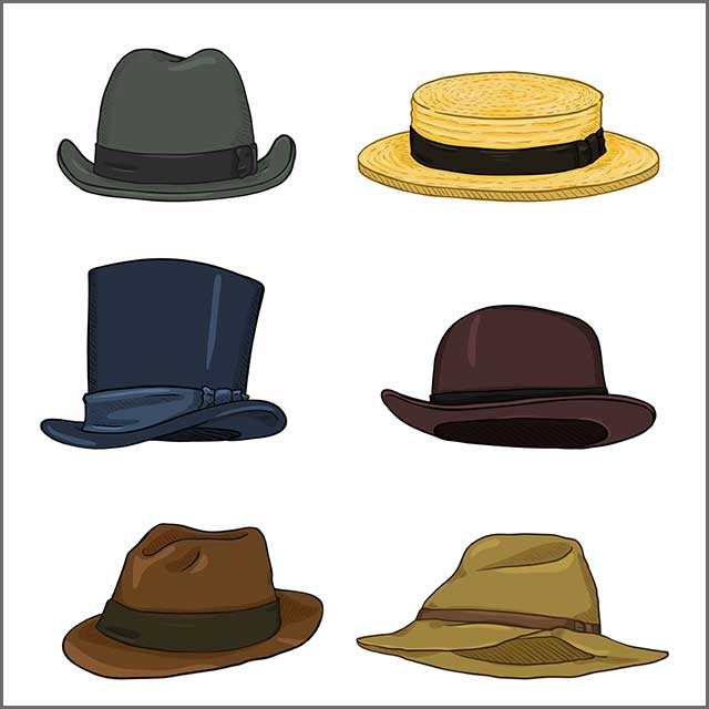 Different styles of a hat