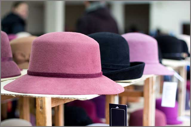 Felt hats in a store